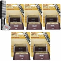 Five Packs Wahl 5 Star Series Red Replacement Foil #7031-300 With Styling Flat Top Comb