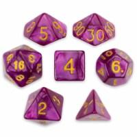 7 Die Polyhedral Set in Velvet Pouch, Abyssal Mist