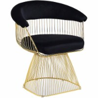Best Master Furniture Gary 20  Velvet Fabric Accent Chair in Black/Gold Plated - 1