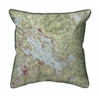 Betsy Drake Lake Winnipesaukee NH Nautical Map Small Indoor/Outdoor Pillow 12x12