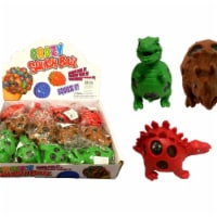 3.5 in. Mesh Squish Dinosaur Ball with Water Beads - Green, Red & Brown, Case of 72 - 1