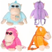 Giftable World AG110003 11 in. Monkey with Sunglasses Backpack - 4 Assorted Color