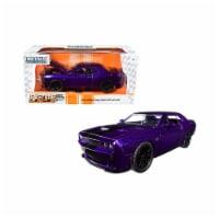 Jada 31063 2015 Dodge Challenger SRT Hellcat Purple with Black Stripes Big Time Muscle 1-24 D - 1