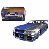 "Brian\'s Nissan GTR Skyline R34 Silver/Blue \Fast & Furious\"" Movie 1/24 Diecast Model Car"" - 1"