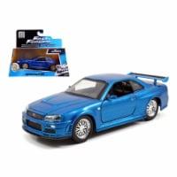 Brian\'s Nissan Skyline GT-R R34 Blue \Fast & Furious\ Movie 1/32 Diecast Car Model by Jada - 1