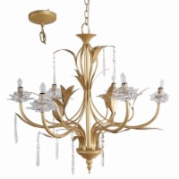 Saltoro Sherpi Glamorous Nature Inspired 6- Light Chandelier, Gold and Clear - 1 unit