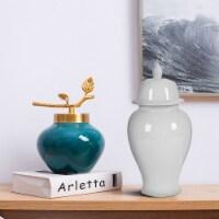 Saltoro Sherpi Decorative Porcelain Ginger Jar with Finial Lid, Large, White - 1 unit