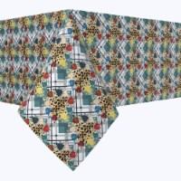 "Rectangular Tablecloth, 100% Polyester, 60x120"", Abstract Animal Print Plaid"