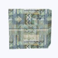 "Napkin Set, 100% Polyester, Set of 12, 18x18"", Abstract Paisley Squares"