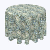 """Round Tablecloth, 100% Polyester, 90"""" Round, Abstract Paisley Squares - 1 Product"""