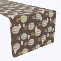 """Table Runner, 100% Polyester, 12x72"""", Animals in Hot Air Balloons"""