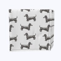 "Napkin Set, 100% Polyester, Set of 12, 18x18"", Black & White Dachshund Toss"