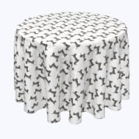 "Round Tablecloth, 100% Polyester, 84"" Round, Black & White Dachshund Toss"