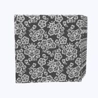 "Napkin Set, 100% Polyester, Set of 12, 18x18"", Black & White Lace Doily"