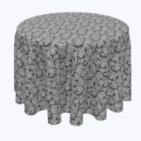 """Round Tablecloth, 100% Polyester, 70"""" Round, Black & White Lace Doily - 1 Product"""