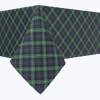 """Square Tablecloth, 100% Polyester, 54x54"""", Blue & Green Tartan Plaid - 1 Product"""