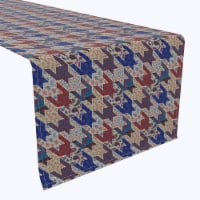 "Table Runner, 100% Polyester, 12x72"", Canvas Texture Houndstooth"