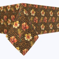 """Square Tablecloth, 100% Polyester, 90x90"""", Floral Animal Print"""
