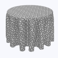 """Round Tablecloth, 100% Polyester, 70"""" Round, Floral Lace Details Black - 1 Product"""