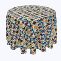 """Round Tablecloth, 100% Polyester, 60"""" Round, Geometric Houndstooth"""