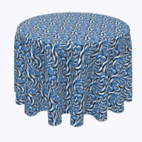"""Round Tablecloth, 100% Polyester, 70"""" Round, Geometric Stripes in Swirls"""