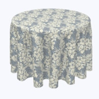 """Round Tablecloth, 100% Polyester, 108"""" Round, Hibiscus Houndstooth"""