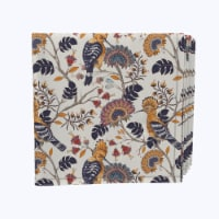 """Napkin Set, 100% Polyester, Set of 12, 18x18"""", Hoopoes Birds & Flowers"""
