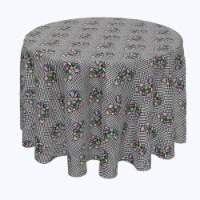 """Round Tablecloth, 100% Polyester, 60"""" Round, Houndstooth & Flowers"""