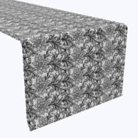 """Table Runner, 100% Polyester, 12x72"""", Lace Doodles Black & White"""
