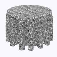 """Round Tablecloth, 100% Polyester, 114"""" Round, Lace Doodles Black & White"""