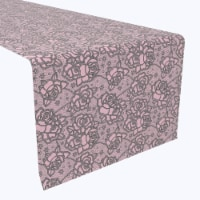 """Table Runner, 100% Polyester, 14x108"""", Lacey Pink Roses"""