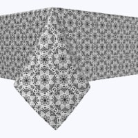 """Square Tablecloth, 100% Polyester, 54x54"""", Modern Black & White Lace - 1 Product"""