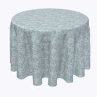 """Round Tablecloth, 100% Polyester, 60"""" Round, Ornate Blue Floral Swirls"""