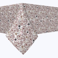 """Square Tablecloth, 100% Polyester, 90x90"""", Paisley & Flowers"""