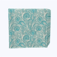 """Napkin Set, 100% Polyester, Set of 12, 18x18"""", Paisley Lace Teal"""