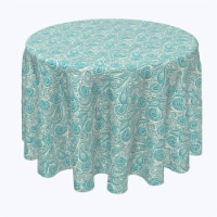 """Round Tablecloth, 100% Polyester, 60"""" Round, Paisley Lace Teal"""