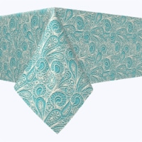 """Square Tablecloth, 100% Polyester, 90x90"""", Paisley Lace Teal"""