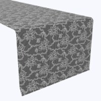 """Table Runner, 100% Polyester, 14x108"""", Paisley Petals Black Lace - 1 Product"""