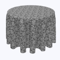 """Round Tablecloth, 100% Polyester, 102"""" Round, Paisley Petals Black Lace - 1 Product"""
