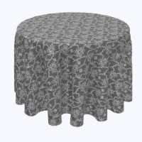 """Round Tablecloth, 100% Polyester, 120"""" Round, Paisley Petals Black Lace - 1 Product"""