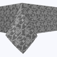 """Square Tablecloth, 100% Polyester, 90x90"""", Paisley Petals Black Lace - 1 Product"""
