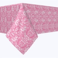 """Square Tablecloth, 100% Polyester, 70x70"""", Pink Lace With Flowers"""