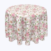 """Round Tablecloth, 100% Polyester, 60"""" Round, Pink Magnolia Flowers"""