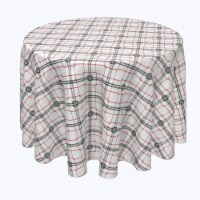 """Round Tablecloth, 100% Polyester, 120"""" Round, Red & Black Fashion Plaid"""