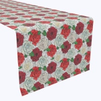 """Table Runner, 100% Polyester, 12x72"""", Red & White Rose Sketches"""