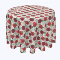 """Round Tablecloth, 100% Polyester, 90"""" Round, Red & White Rose Sketches"""