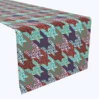 """Table Runner, 100% Polyester, 14x108"""", Retro Patchwork Houndstooth"""