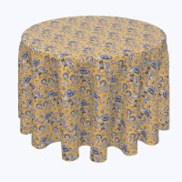 """Round Tablecloth, 100% Polyester, 70"""" Round, Stylized Birds & Flowers"""