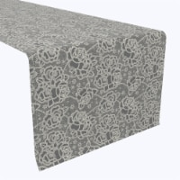 """Table Runner, 100% Polyester, 14x108"""", Stylized Lace Roses"""