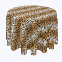 """Round Tablecloth, 100% Polyester, 108"""" Round, Tiger Print - 1 Product"""